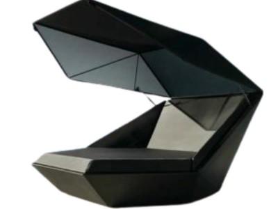 Ghế tựa composite với thiết kế mái che như vỏ sò